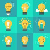 Creative idea  illustration set with different lamps. Modern  design element on color background Stock Photography