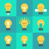 Creative idea  illustration set with different lamps. Modern  design element on color background Stock Images