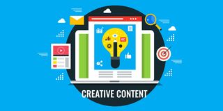 Concept of creative content writing, flat design vector banner. Stock Photo