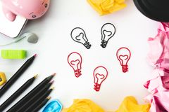 Creative idea and innovation concept  with light bulb paper clip Stock Photo
