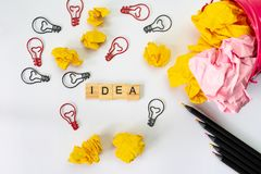 Creative idea and innovation concept  with light bulb and paper Stock Image
