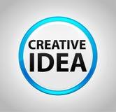 Creative Idea Round Blue Push Button vector illustration