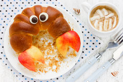 Creative idea for the kid breakfast: delicious croissant in shap Royalty Free Stock Images