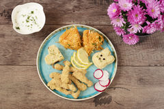 Creative idea for kids lunch or dinner. Roasted chicken fillets, bunny from bulgur, brown rice heart. Salad of cabbage Royalty Free Stock Photography