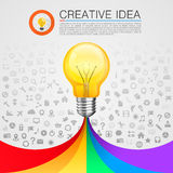 Creative idea lamp with rainbow Royalty Free Stock Image