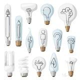 Creative idea lamps cartoon flat vector illustration. Stock Photography