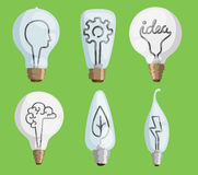 Creative idea lamps cartoon flat vector illustration set  bulb symbol energy concept light bright inspiration Royalty Free Stock Images