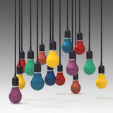 Creative idea and leadership concept  colors light bulb. Creative idea and leadership concept 3d colors light bulb Stock Images
