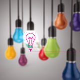 Creative idea and leadership concept  colors light bulb Stock Photography