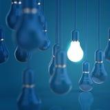 Creative idea and leadership concept light bulb. On blue background stock illustration