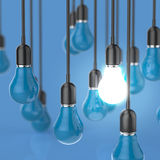 Creative idea and leadership concept light bulb. On color background vector illustration