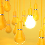 Creative idea and leadership concept light bulb 3d design. Concept Stock Photos