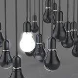 Creative idea and leadership concept light bulb. On grey background vector illustration