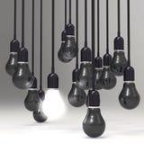 Creative idea and leadership concept light bulb. On grey background Stock Photography