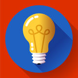 Creative idea in light bulb shape as inspiration concept. Flat icon. Royalty Free Stock Photography