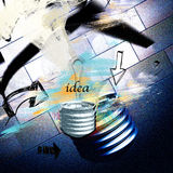 Creative idea. Light bulbs of glass  with abstract background and  written  idea Stock Image