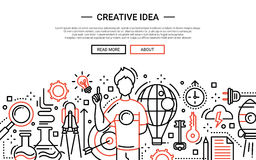 Creative Idea - line design website banner. Illustration of vector modern simple line flat design website banner, header with guy having a creative idea Royalty Free Stock Image