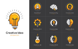 Creative idea logo set with human head, brain, light bulb. Icons set with brain, light bulb, human head. Creative idea, mind, nonstandard thinking logo Stock Photo
