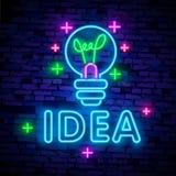 Creative Idea Neon Sign Vector. Creative Idea neon logo, design template, modern trend design, night neon signboard, night bright. Advertising, light banner stock illustration