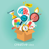 Creative idea, think out of the box vector Illustration. Big idea, startup.Box from which fly creative idea Royalty Free Stock Photo