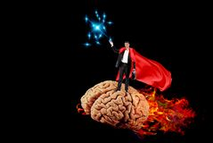 Creative ideas in business. Burning human brain.concept royalty free stock photos