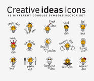 Creative ideas color flat icons symbols set. Stock Image