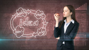 Creative ideas concept, beautiful businesswoman fighting on painted background near idea organizational chart. Creative ideas concept, beautiful businesswoman Stock Images