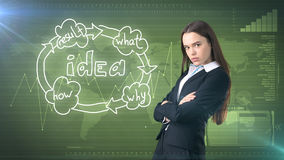 Creative ideas concept, beautiful businesswoman standing on studio painted background near idea organizational chart. Creative ideas concept, beautiful Royalty Free Stock Photography