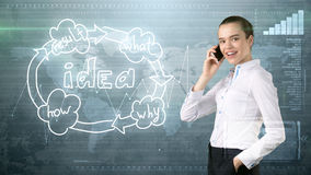 Creative ideas concept, beautiful businesswoman talking on phone on painted background near idea organizational chart. Creative ideas concept, beautiful Stock Image