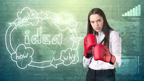 Creative ideas concept, boxing businesswoman standing on fight pose on painted background near idea organizational chart. Creative ideas concept, beautiful Royalty Free Stock Photos