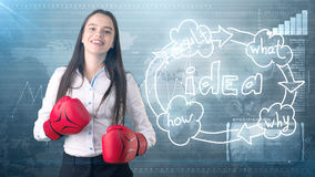 Creative ideas concept, boxing businesswoman standing on fight pose on painted background near idea organizational chart. Creative ideas concept, beautiful Stock Image