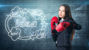 Creative ideas concept, boxing businesswoman standing on fight pose on painted background near idea organizational chart. Creative ideas concept, beautiful Stock Images