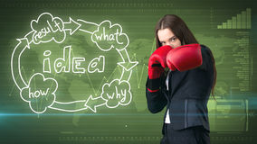 Creative ideas concept, boxing businesswoman standing on fight pose on painted background near idea organizational chart. Creative ideas concept, beautiful Stock Photo