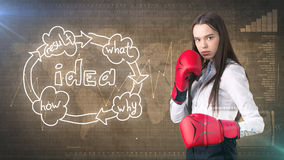 Creative ideas concept, boxing businesswoman standing on fight pose on painted background near idea organizational chart. Creative ideas concept, beautiful Royalty Free Stock Image