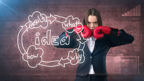 Creative ideas concept, boxing businesswoman standing on fight pose on painted background near idea organizational chart. Creative ideas concept, beautiful Royalty Free Stock Images
