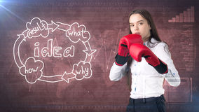 Creative ideas concept, boxing businesswoman standing on fight pose on painted background near idea organizational chart. Creative ideas concept, beautiful Stock Photography