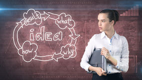 Creative ideas concept, businesswoman holding briefcase on studio painted background near idea organizational chart. Creative ideas concept, beautiful Royalty Free Stock Image
