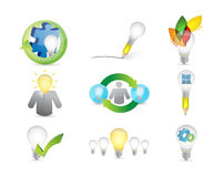 Creative ideas concept icon set. Illustration design over a white background Royalty Free Stock Image