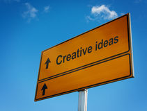 Creative ideas road sign. Creative ideas road sign, bottom place for your text Stock Photography