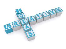 Creative ideas sign. Letter blocks in crossword puzzle shape spelling creative ideas, white background Stock Images