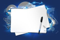 Creative Ideas. Workstation Abstract Illustration with Copy Space. Blank Paper Sheets, Marker and Technology Elements in the Background. Business Plan Idea Stock Image