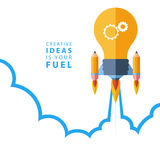 Creative ideas is your fuel. Flat design colorful vector illustration concept. Stock Photography