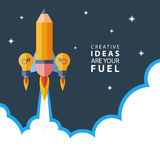 Creative ideas are your fuel. Rocket launch. Flat design colorful vector illustration. Royalty Free Stock Image