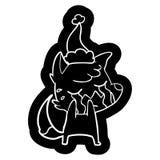 Crying fox cartoon icon of a wearing santa hat. A creative illustrated crying fox cartoon icon image of a wearing santa hat royalty free illustration