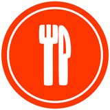 Knife and fork circular icon. A creative illustrated knife and fork circular icon image stock illustration