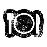 Knife fork and plate icon. A creative illustrated knife fork and plate icon image royalty free illustration