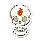 Sticker of a cartoon mystic skull. A creative illustrated sticker of a cartoon mystic skull stock illustration