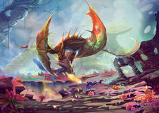 Creative Illustration And Innovative Art: Knight Fights With Dragon In Treasure Land. Royalty Free Stock Photos