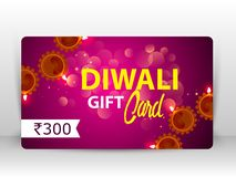 Creative illustration of burning diya with fireworks, diwali gift card. Design on happy Diwali Holiday background for light festival of India royalty free illustration