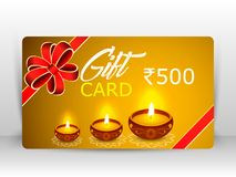 Creative illustration of burning diya with fireworks, diwali gift card vector illustration